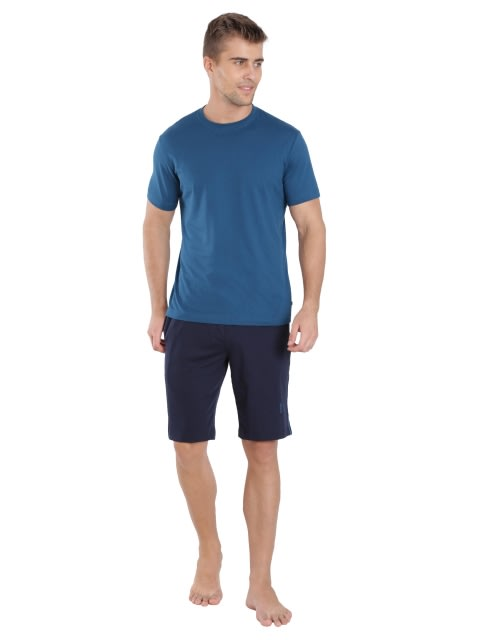 Navy & Seaport Teal Knit Sport Shorts