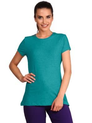 Teal Melange Round Neck T-Shirt