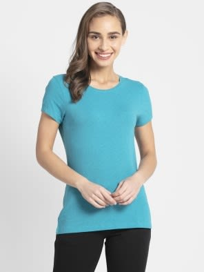 Teal Melange Round Neck T-Shirt