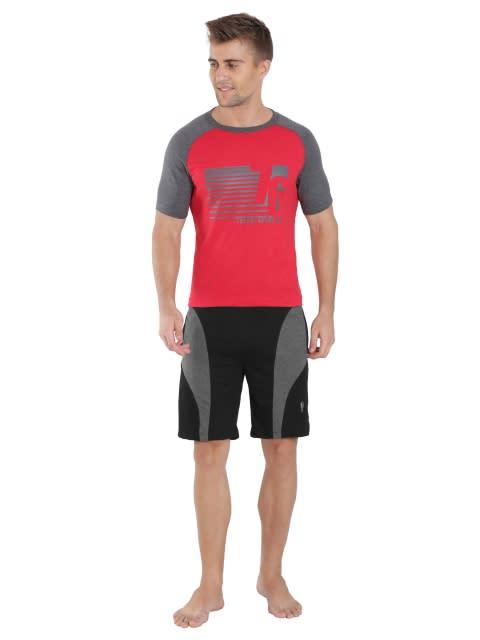Black & Charcoal Melange Knit Sport Shorts