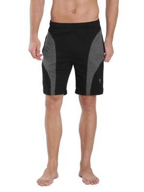 Black & Charcoal Melange Knit Sport Shorts