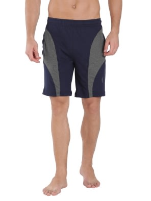 Navy & Charcoal Melange Knit Sport Shorts