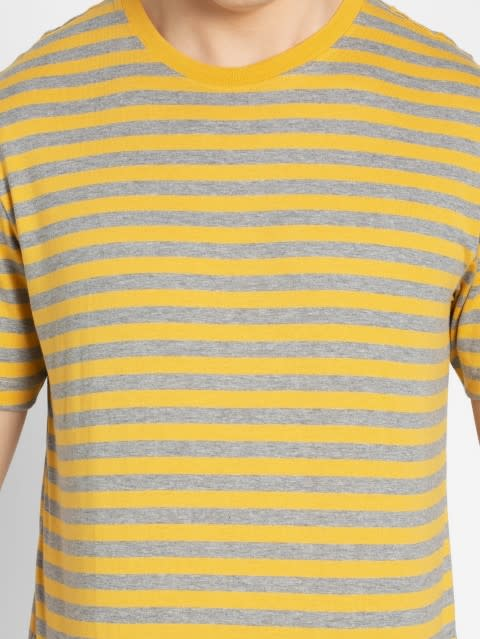 Burnt Gold & Grey Crew neck T-shirt