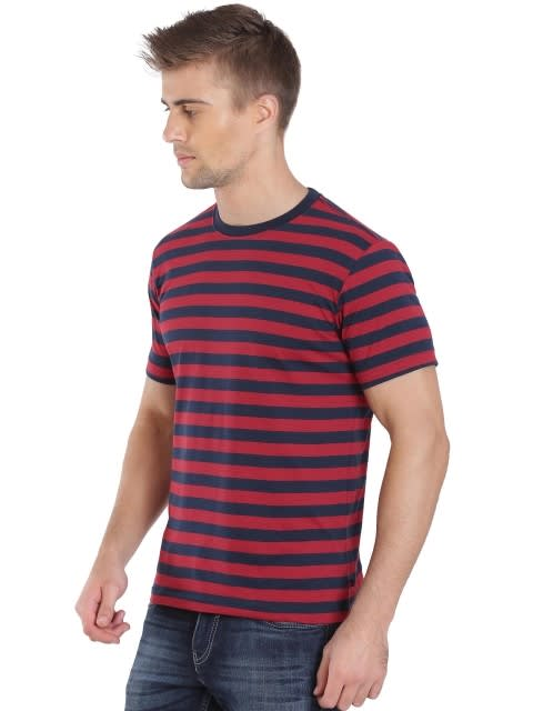 Navy & Shanghai Red Crew neck T-shirt
