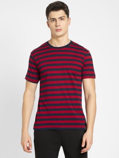 Navy & Shanghai Red Crew neck T-shirt