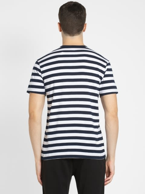 Navy & White Crew neck T-shirt