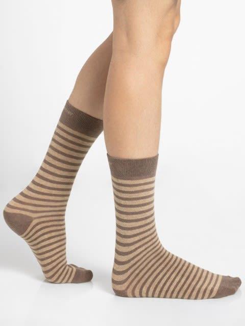 Brown Melange Crew Socks