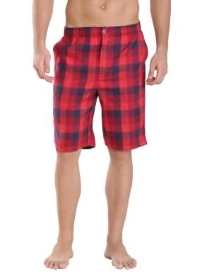 US Red & Checks Woven Bermuda