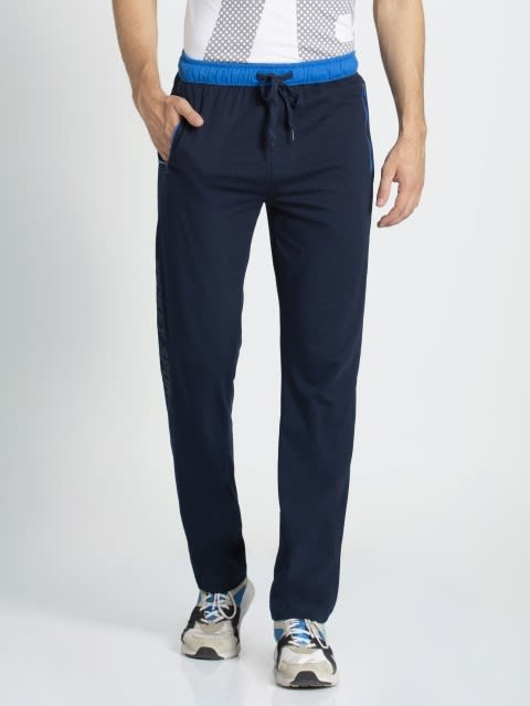 Navy & Neon Blue Sports Track Pant