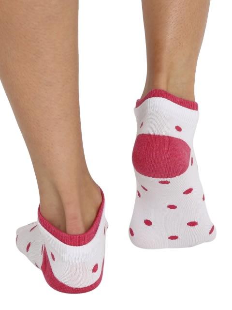 White & Raspberry Melange Women Low show socks Pack of 2