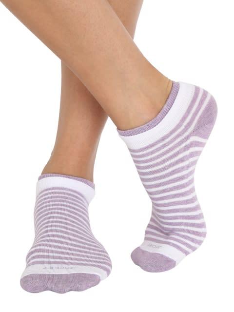 White & Lilac Melange Women Low show socks Pack of 2