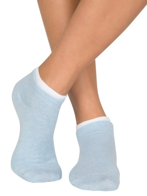 Pink Sorbet Melange & Sky Melange Women Low ankle socks Pack of 2