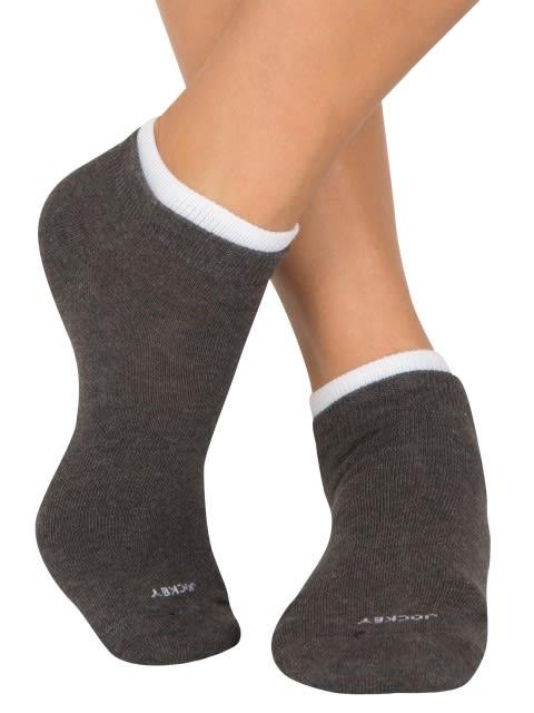 Charcoal Melange & Red Love Women Low ankle socks Pack of 2