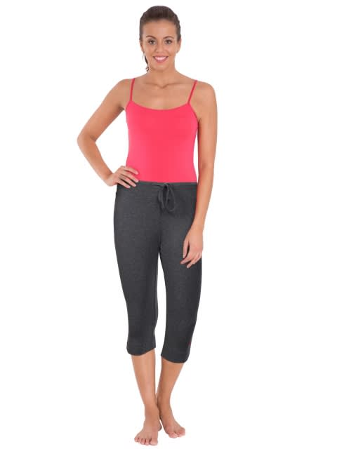 Charcoal Melange & Ruby Knit Capri