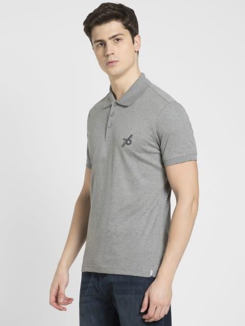 Grey Melange Sport Polo T-Shirt