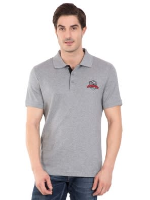 Grey Melange Sport Polo T-Shirt