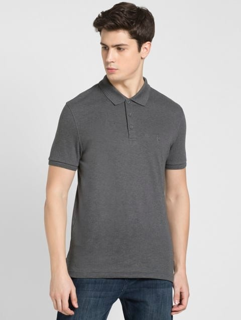 Charcoal Melange Polo T-Shirt