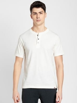 Cream Melange Henley Half Sleeve T-Shirt