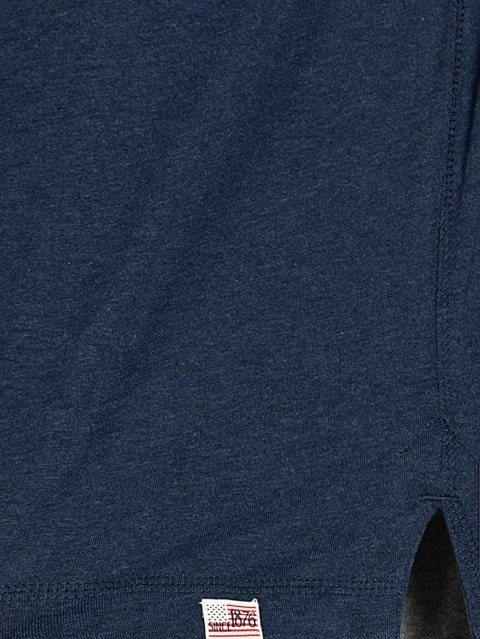 Ink Blue Melange Henley Half Sleeve T-Shirt