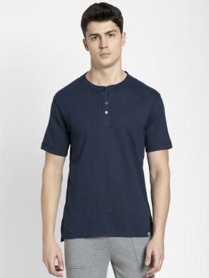 Ink Blue Melange Henley Half Sleeve T-Shirt