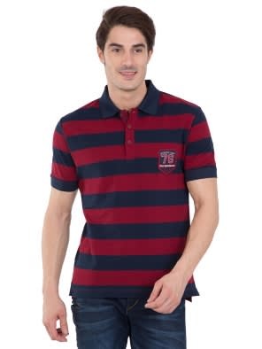 Navy & Deep Red Half Sleeve POLO T-Shirt