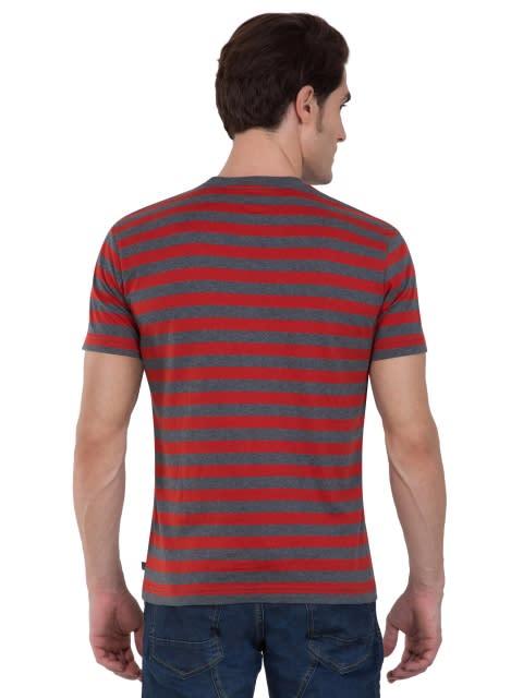 Charcoal Melange & Deep Tango Crew neck T-shirt