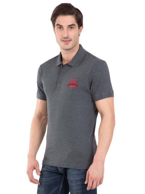 Charcoal Melange Sport Polo T-Shirt