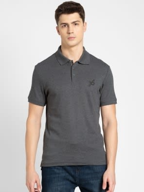 Charcoal Melange Sport Polo T-Shirt