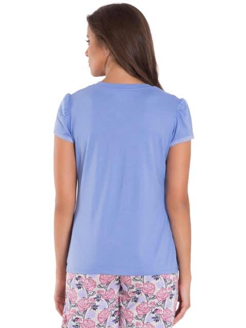 Iris Blue V - Neck T-Shirt