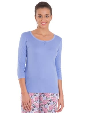Iris Blue 3/4 Sleeve Top
