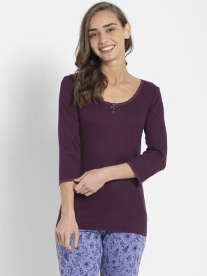 Purple Wine 3/4 Sleeve Top