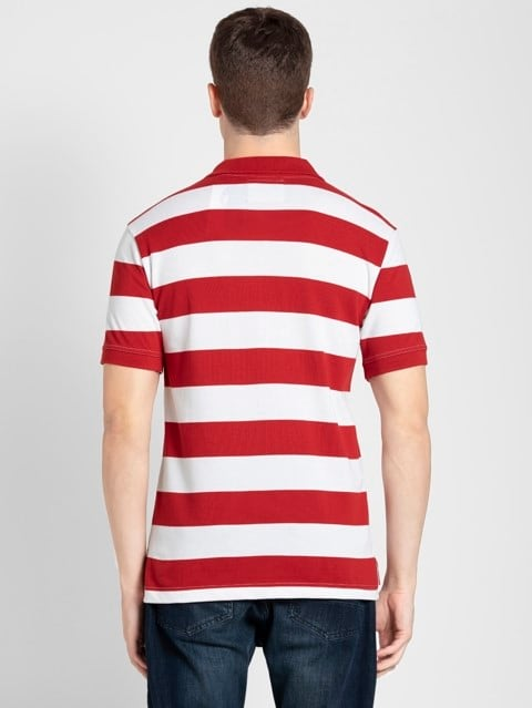 Worldly Red & White Half Sleeve POLO T-Shirt