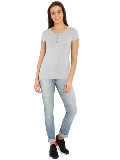 Light Grey Melange Short Sleeve Slim fit henley
