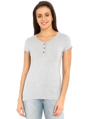 Light Grey Melange Short Sleeve Slim fit henley