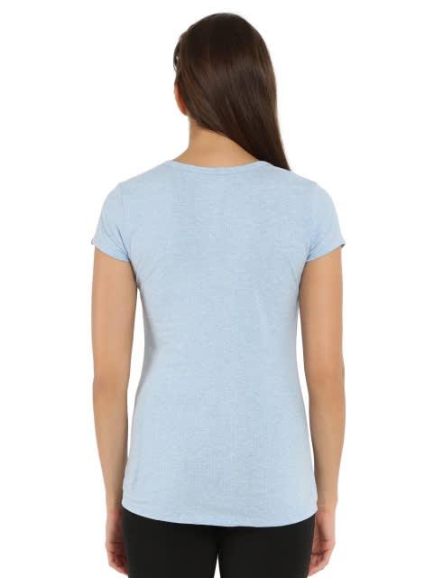 Sky Blue Melange Short Sleeve Slim fit henley