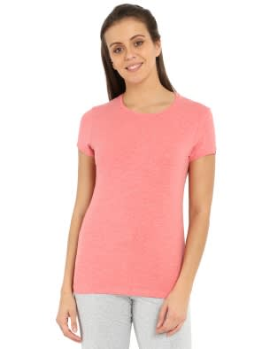 Passion Red Melange Round neck T-Shirt