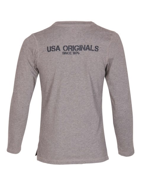 Grey Melange Boys Henley T-Shirt Long Sleeve