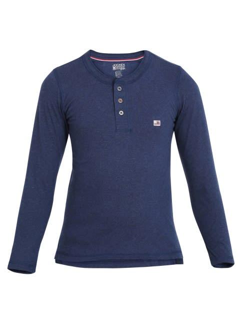 Ink Blue Melange Boys Henley T-Shirt Long Sleeve