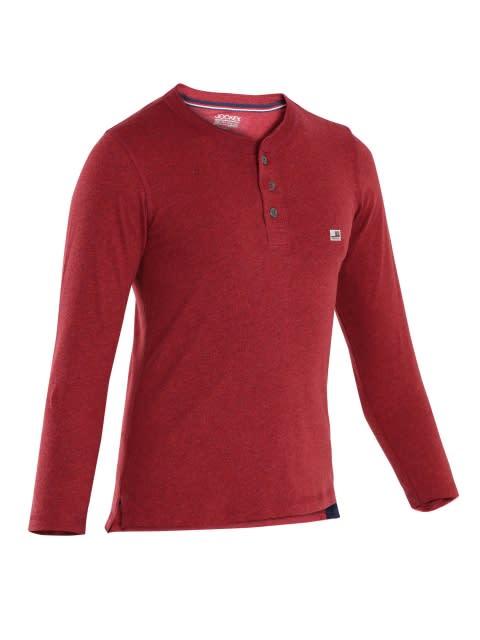 Red Melange Boys Henley T-Shirt Long Sleeve