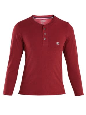 Red Melange Boys Henley T-Shirt Long Sleeve