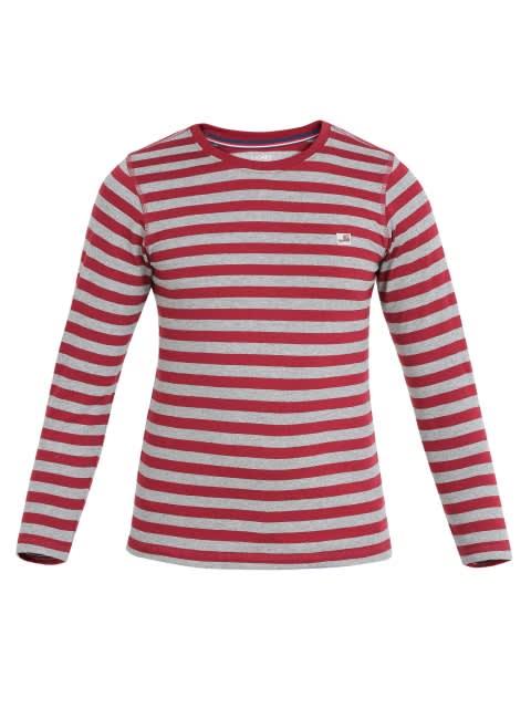 Deep Red & Grey Melange Boys Crew Neck T-Shirt Long Sleeve