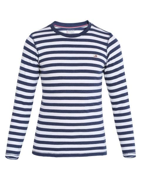 Ink Blue Melange & White Boys Crew Neck T-Shirt Long Sleeve
