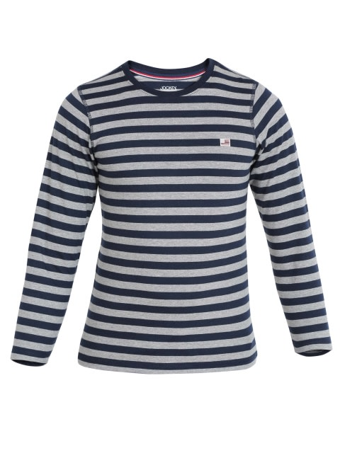 Navy & Grey Melange Boys Crew Neck T-Shirt Long Sleeve