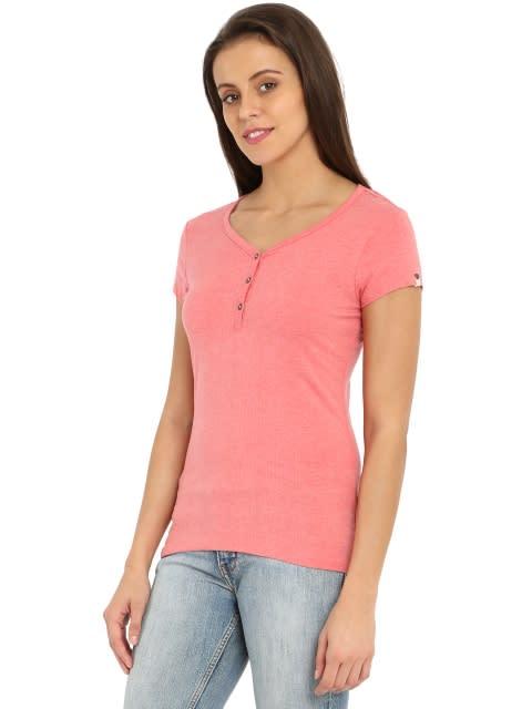 Passion Red Melange Short Sleeve Slim fit henley