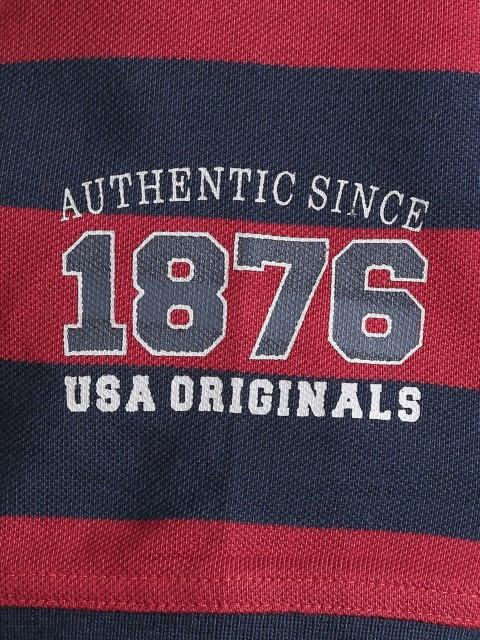 Navy & Deep Red Boys Half Sleeve POLO T-shirt