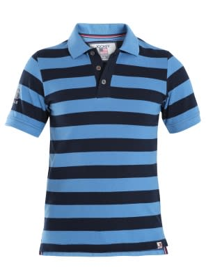 Parisian Blue & Navy Boys Half Sleeve POLO T-shirt