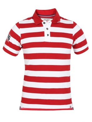 Wordly Red & White Boys Half Sleeve POLO T-shirt