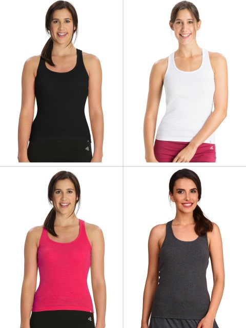 Basic Color Racerback Tank Top Combo - Pack of 4