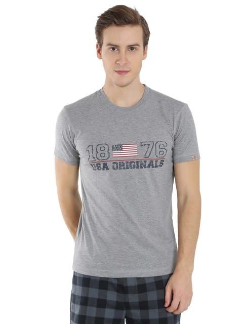 Grey Melange Print Crew neck Graphic T-shirt