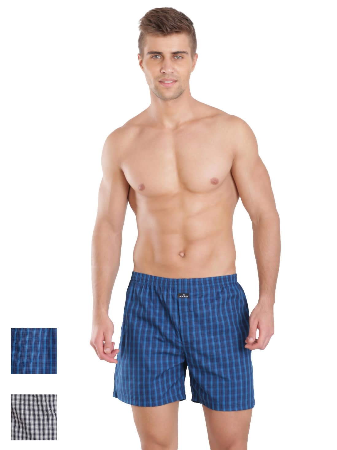 Dark & Light Assorted Check Boxer Shorts Combo - Pack of 2